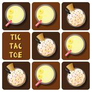 Tic-Tac-Toe of coffee or chocolate frappe and banana smoothie Stock Illustration