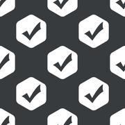 Black hexagon tick mark pattern - stock illustration