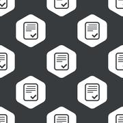 Black hexagon accepted document pattern Stock Illustration