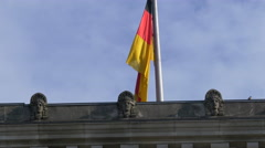 The German flag on Reichstag building's roof, Berlin Stock Footage