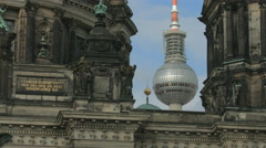Berlin's TV Tower as seen between Berlin's Cathedral towers Stock Footage