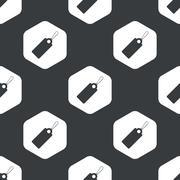 Black hexagon string tag pattern - stock illustration