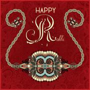 Stock Illustration of greeting card for indian festive sisters and brothers Raksha Ban