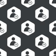 Black hexagon remove user pattern - stock illustration
