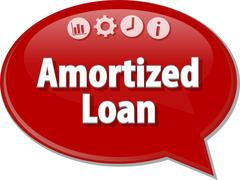 Amortized loan Business term speech bubble illustration Stock Illustration