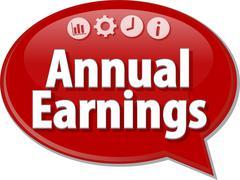 Stock Illustration of Annual earnings Business term speech bubble illustration