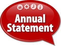 Annual statement Business term speech bubble illustration - stock illustration