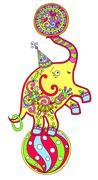 Colored line art drawing of circus theme - elephant balancing on Piirros