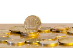 Ten-rouble coins - stock photo