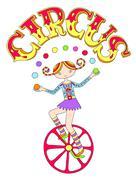 Teenage girl juggler on unicycle with inscription CIRCUS Piirros