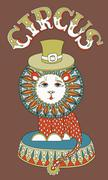 drawing of circus theme - lion in a hat with inscription CIRCUS - stock illustration