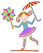 Stock Illustration of pretty girl acrobat walking a tightrope with an umbrella and dec