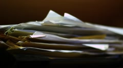 Old papers in the wardrobe Stock Footage