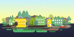 Flat design nature landscape tourism vikend web poster - stock illustration