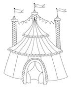 Black and white line art illustration of circus tent Stock Illustration