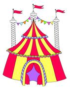 Red and yellow line art drawing of circus tent Stock Illustration