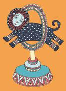 drawing of circus theme -  lion jumps through a ring - stock illustration