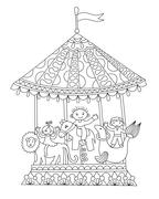 Line art illustration of circus theme merry-go-around Stock Illustration