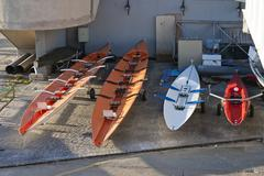 Racing rowing boats Stock Photos