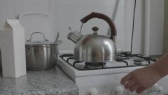 Stock Video Footage of boiling kettle and crockery in the kitchen