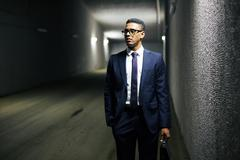 Businessman in tunnel Stock Photos