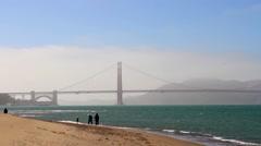 The Golden Gate Bridge as seen from Crissy Field in San Francisco Stock Footage
