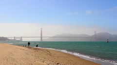 The Golden Gate Bridge as seen from Crissy Field in San Francisco Stock Footage