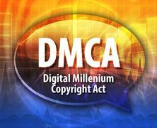 DMCA acronym definition speech bubble illustration - stock illustration