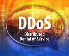 DDoS acronym definition speech bubble illustration - stock illustration