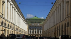 Academic drama theatre named after A. S. Pushkin Alexandrinsky theatre Stock Footage