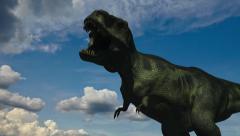 Tyrannosaurus Roars (Cloudy Sky) Stock Footage