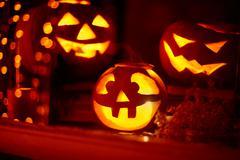 Symbols of spooky holiday - stock photo