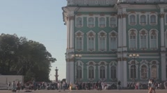 Hermitage Museum Palace Square Rostral column Stock Footage
