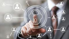 Button lock security web business online icon Stock Footage