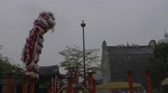 China Lion dance acrabat Stock Footage