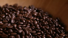 Mixing Coffee Beans in Wooden Bowl Stock Footage