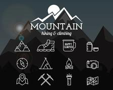 Summer mountain camp badge, logo template and label. Travel, hiking, climbing - stock illustration