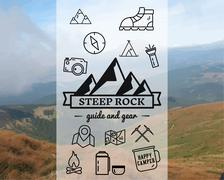 Stock Illustration of Summer Steep Rock camp badge, logo template. Travel, hiking, climbing line icons