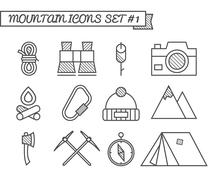 Set of Camping, travel icons, thin line style, flat design. Mountain and Piirros
