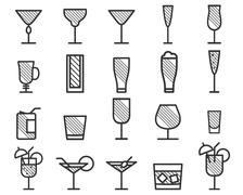 Beverage, drinks vector thin line symbol icon. Beer, Cocktails. Party outline Stock Illustration