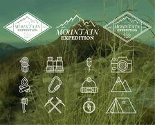 Set of Summer mountain camp badge, logo and label and icon templates. Travel - stock illustration
