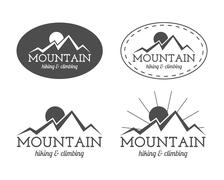 Set of monochrome mountain camp badge, logo and label templates. Travel, hiking Piirros