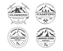 Set of monochrome outdoor camping adventure and mountain, climbing, hiking badge Piirros
