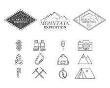 Set of monochrome mountain camp badge, logo and label and icon templates. Travel Piirros