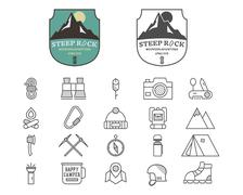 Set of Summer mountain camp badge, logo and label and line icon templates - stock illustration