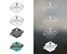 Set of outdoor adventure and forest camp, hiking badge logo, emblem logo, label Stock Illustration