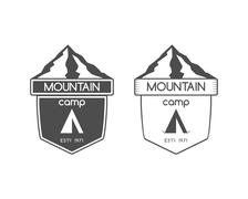 Mountain camp badge, logo and label template. Travel, hiking, climbing style Piirros