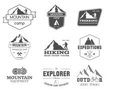 Set of monochrome outdoor adventure explorer camp badge, logo and label - stock illustration