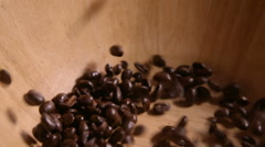 Pouring Coffee Beans into Wooden Bowl 3 Stock Footage