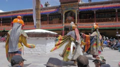 Masked dancers at Hemis festival,Hemis,Ladakh,India Stock Footage